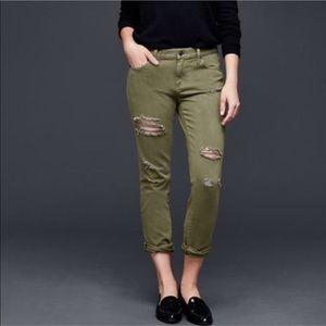 Gap Distressed Olive Green Girlfriend Jeans